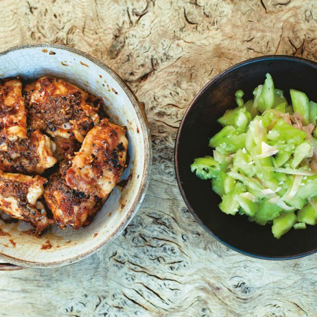 Japanese Ginger and Garlic Chicken with Smashed Cucumber from 'a Change of Appetite'