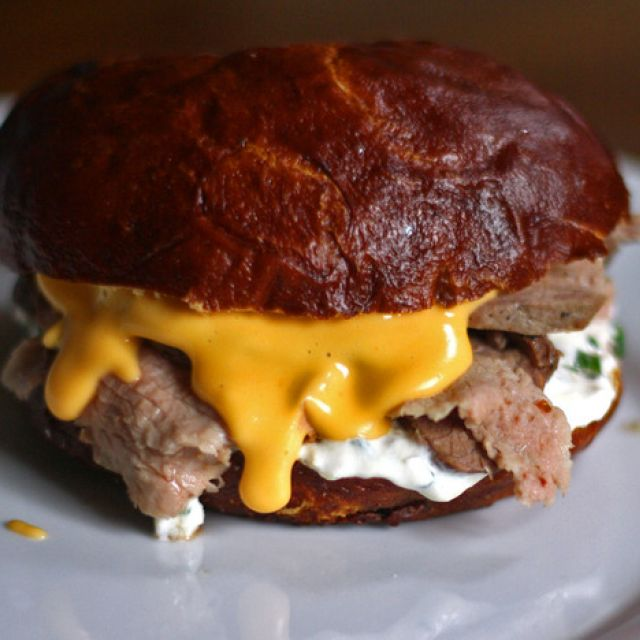 Warm Beef and Cheddar Sandwiches with Horseradish Sauce