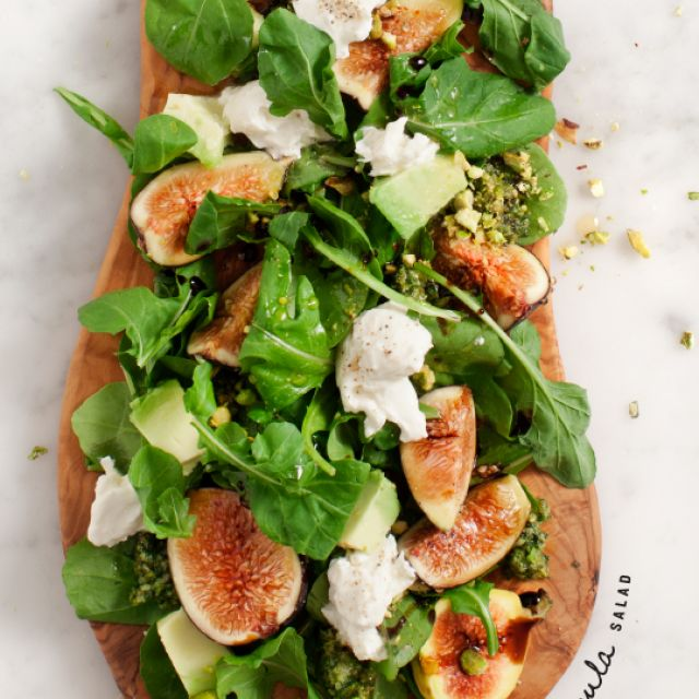 Fig and Arugula Salad with Pistachio Pesto