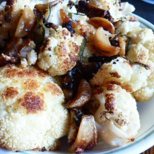Roasted Cauliflower and 16 Roasted Cloves of Garlic
