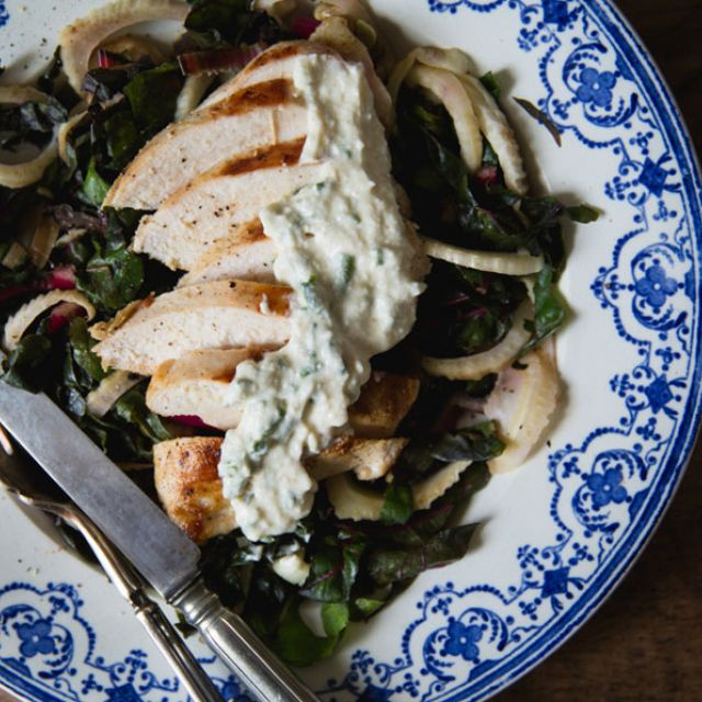 Pan-Roasted Chicken with Chard, Fennel and Herb Yogurt