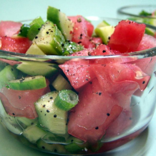 Sweet and Sour Watermelon Cucumber Salad