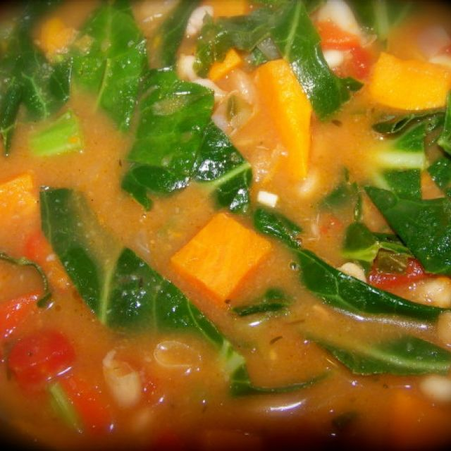 Spicy White Bean and Sweet Potato Stew with Greens