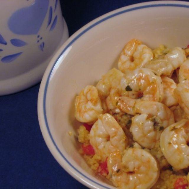 Lemon Oregano Shrimp over Peppered Couscous