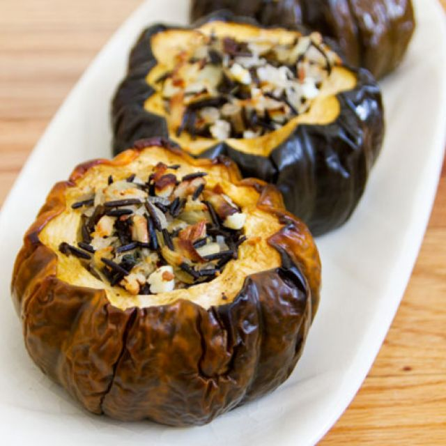 Baked Acorn Squash with Wild Rice, Pecan and Cranberry Stuffing