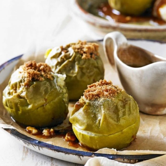 Baked Apples with Almond Crumbs and Caramel Sauce