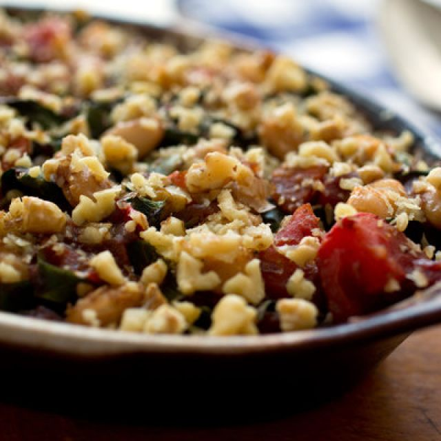 Baked Beans with Pomegranate Molasses, Walnuts and Chard