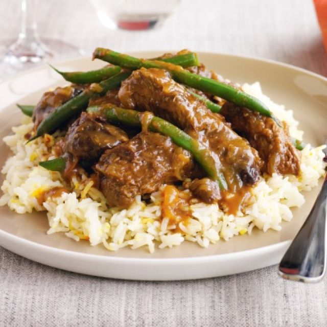 Beef with Orange, Prunes, Cumin and Green Beans