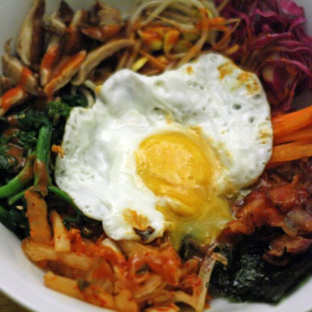 Bibimbap with Bacon and Kimchi