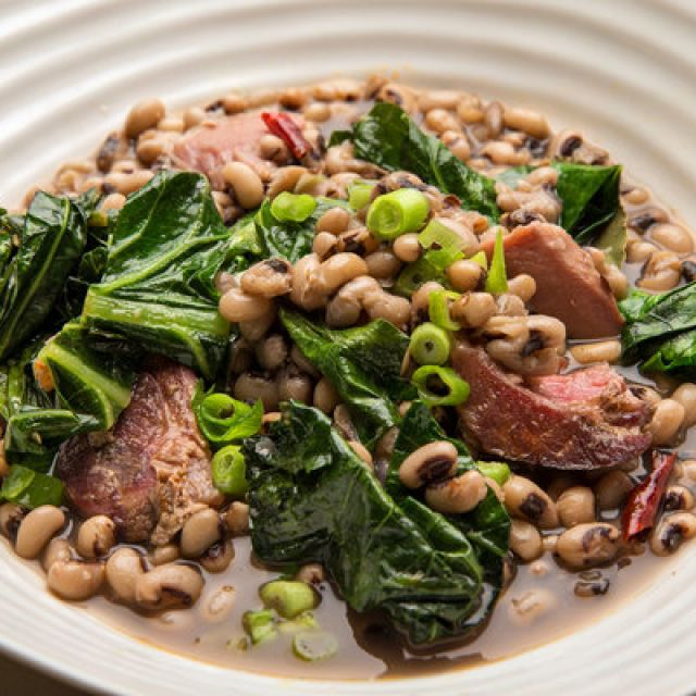 Black-Eyed Peas with Ham Hock and Collard Greens