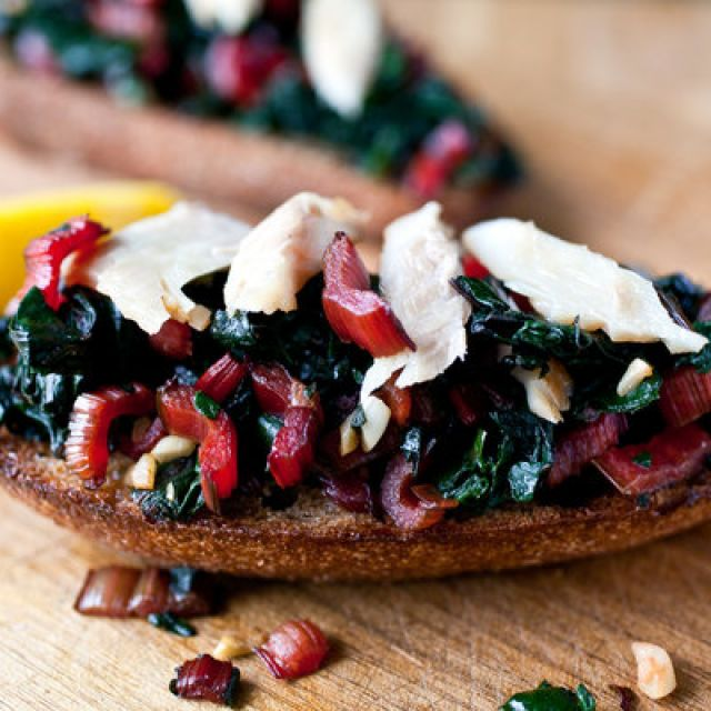 Bruschetta with Swiss Chard and Smoked Trout