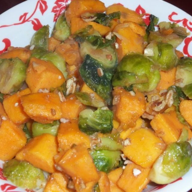 Brussels Sprouts with Pecans and Sweet Potatoes