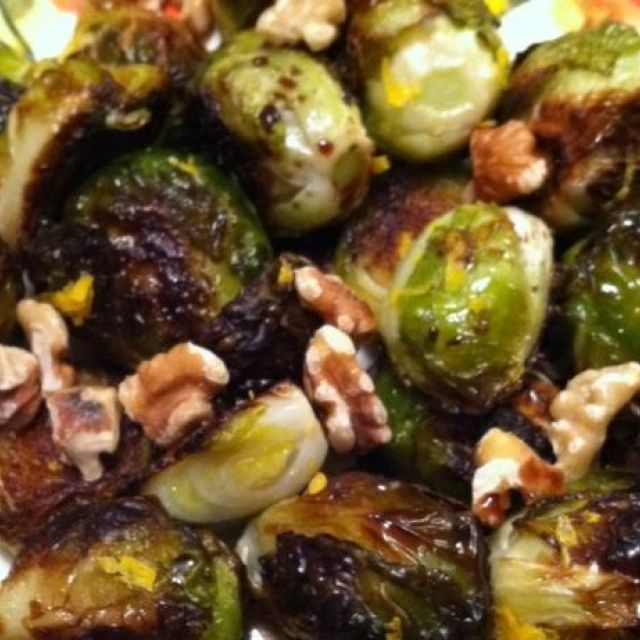 Brussels Sprouts with Pomegranate Molasses and Meyer Lemon