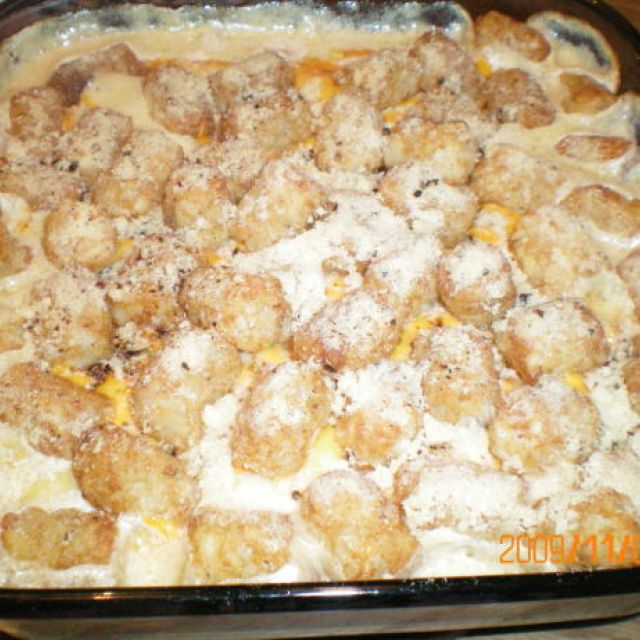 Cheese Sausage Tater Tots - Topped Casserole