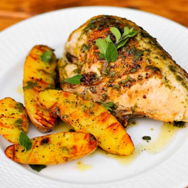 Chicken with Roasted Garlic-Oregano Vinaigrette and Fingerling Potatoes