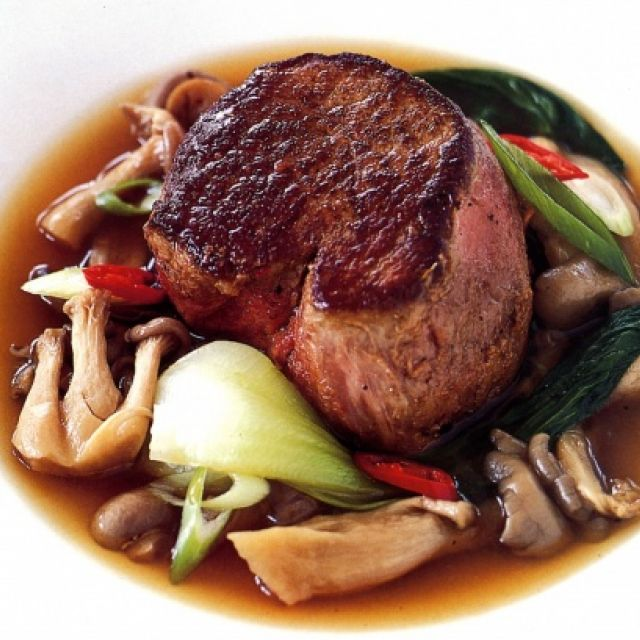 Chili Steak with Mushroom and Baby Bok Choy Broth