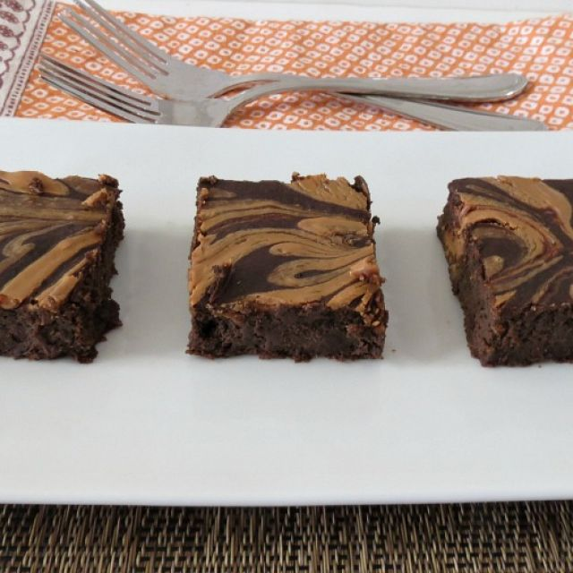 Chocolate Brownies with Peanut Butter Swirl