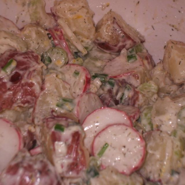 Creamy Potato Salad with Dill, Lemon and Radishes