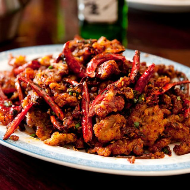 Crispy Lamb with Cumin, Scallions and Red Chilies