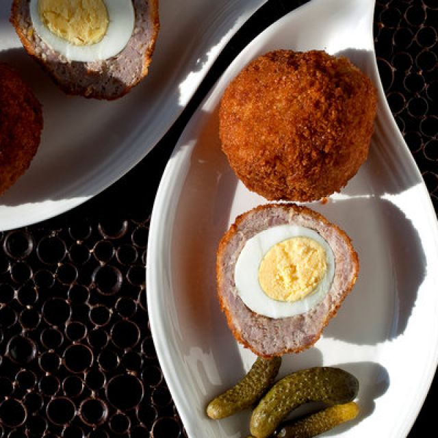 Crunchy Scotch Eggs with Horseradish and Pickles