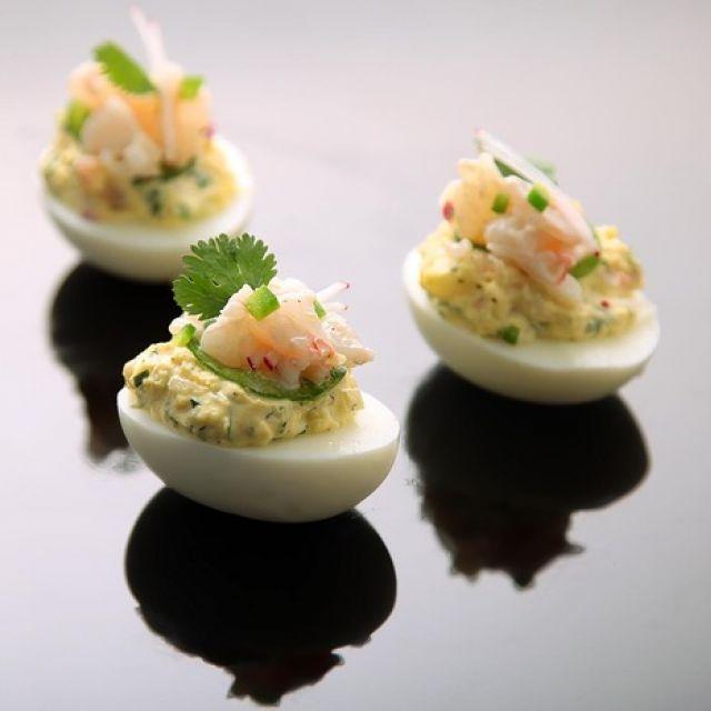 Deviled Eggs with Shrimp, Jalapeño, and Radish