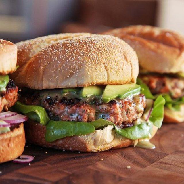 Easy Salmon Burgers with Dill Honey-Mustard, Horseradish, and Avocado