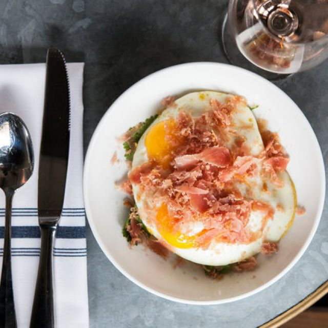 Eggs with Gigante Beans and Harissa