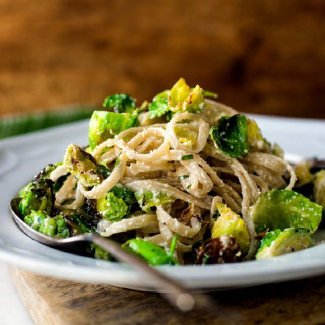 Gluten-Free Fettuccine with Brussels Sprouts, Lemon and Ricotta