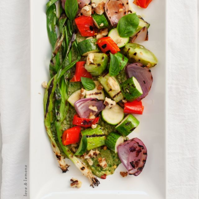 Grilled Vegetables with Basil Miso