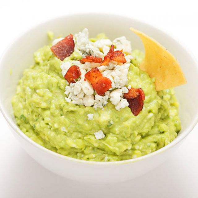 Guacamole with Blue Cheese and Bacon