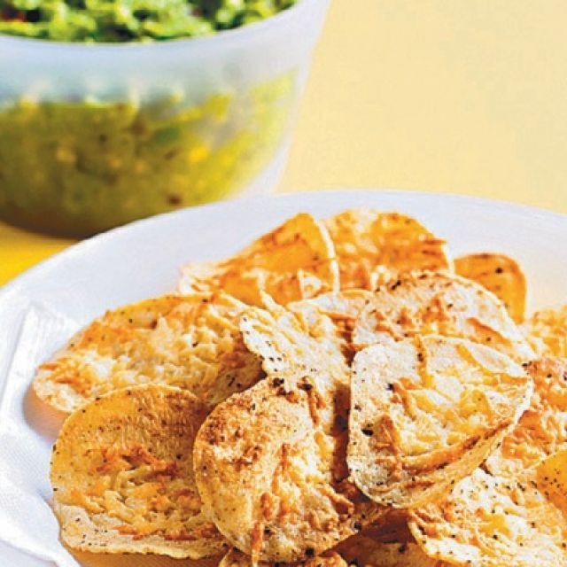 Guacamole with Cheese Baked Corn Chips