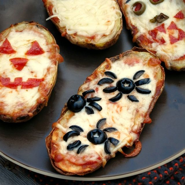 Halloween Baked Potato Skin Pizzas