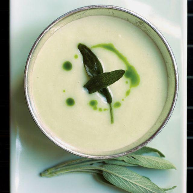 Jerusalem Artichoke Soup with Crispy Sage Leaves