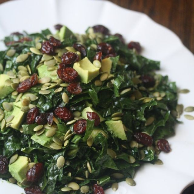 Kale Salad with Avocado, Cranberries, and Pepitas
