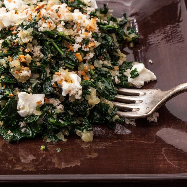Kale with Goat Cheese and Toasted Crumbs