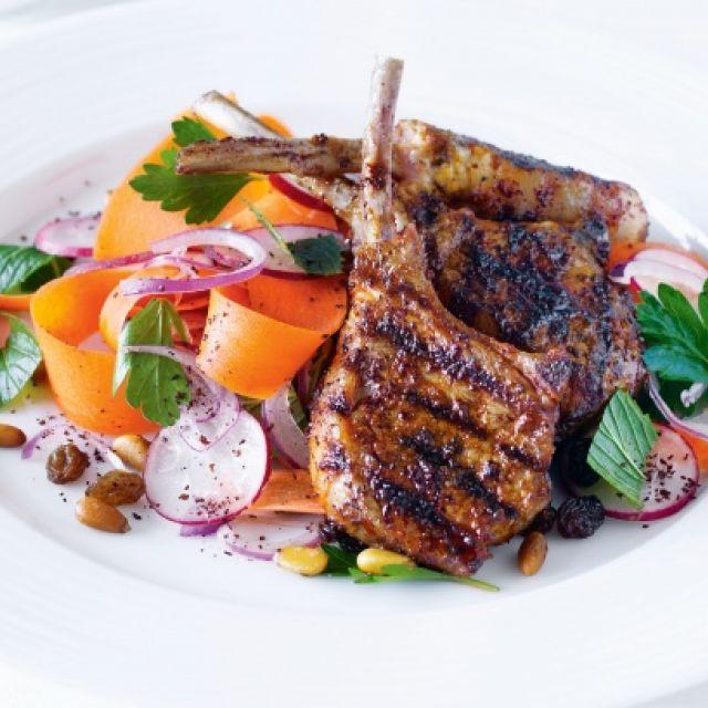 Lamb Cutlets with Radish Salad and Cinnamon Yogurt