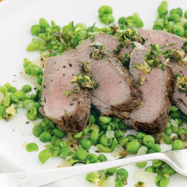 Lamb with Crushed Peas and Caper Relish