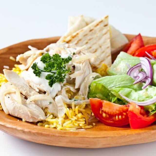 Halal Cart Style Turkey and Rice with White Sauce