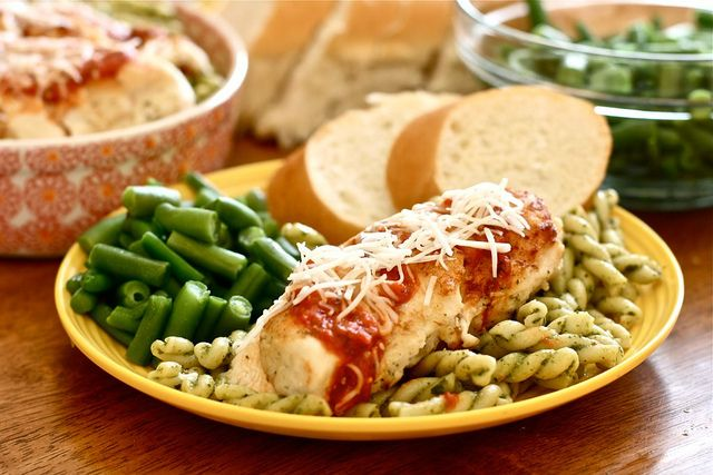 Light Chicken Parmesan With Pesto Pasta ($10 Meal)