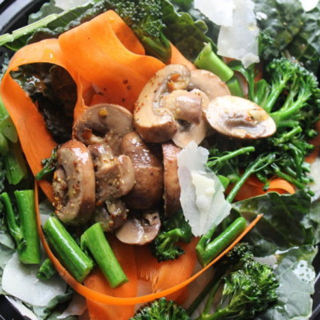 Make-Ahead Marinated Mushrooms with Kale, Shaved Carrots and Parmesan