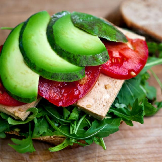 Marinated Tofu Sandwich with Asian Greens