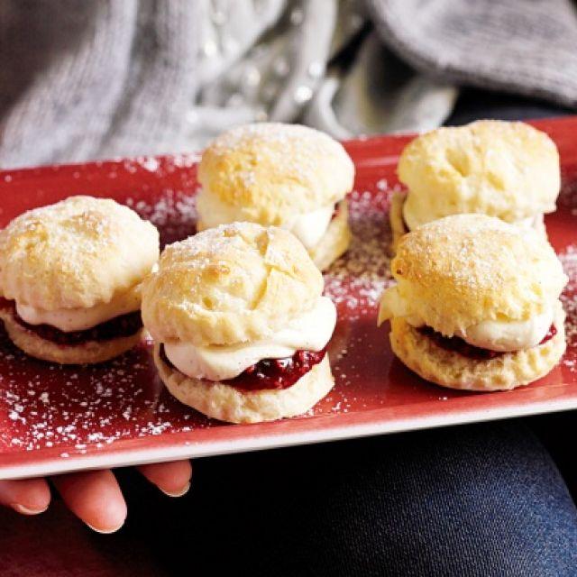 Mini Scones with Raspberry Jam and Vanilla Bean Mascarpone