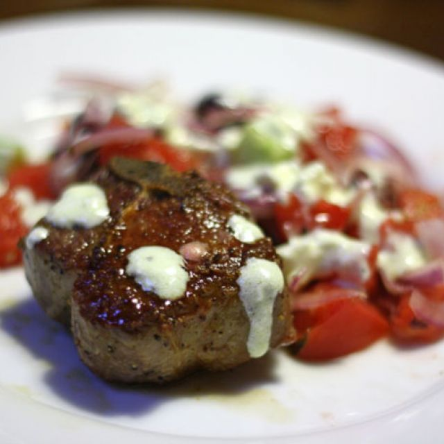 Lamb Loin Chops with Greek Salad and Yogurt-Lemon Sauce