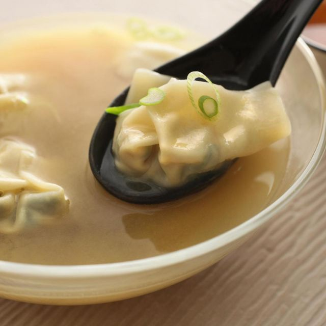 Spicy Miso Soup with Bok Choy Wontons