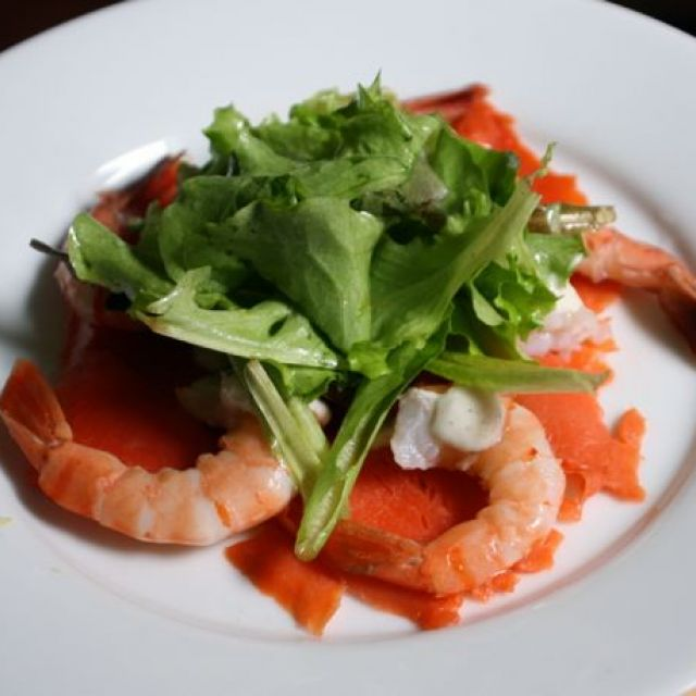 Smoked Salmon with Shrimp, Horseradish Cream and Lime Vinaigrette