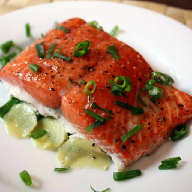 Slow Cooked Salmon with Ginger and Scallion