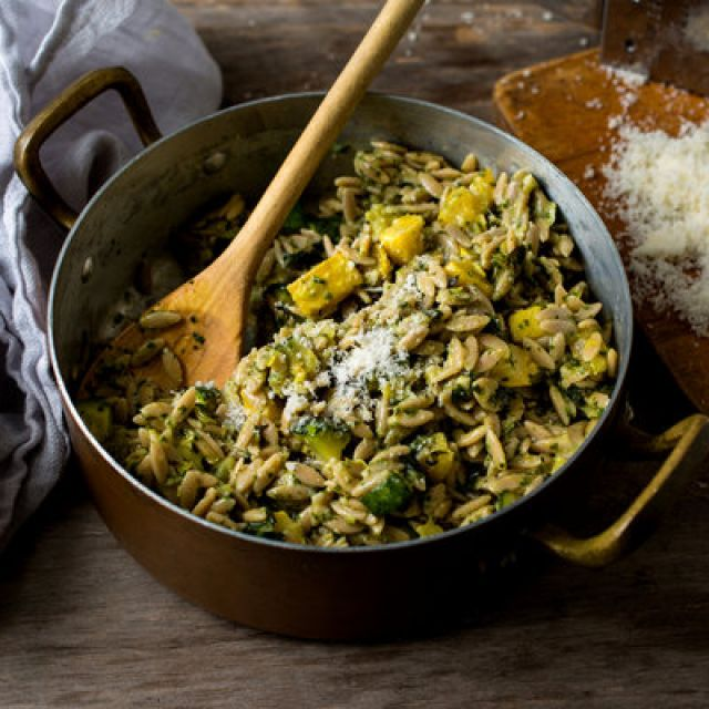 Orzo with Summer Squash and Pesto