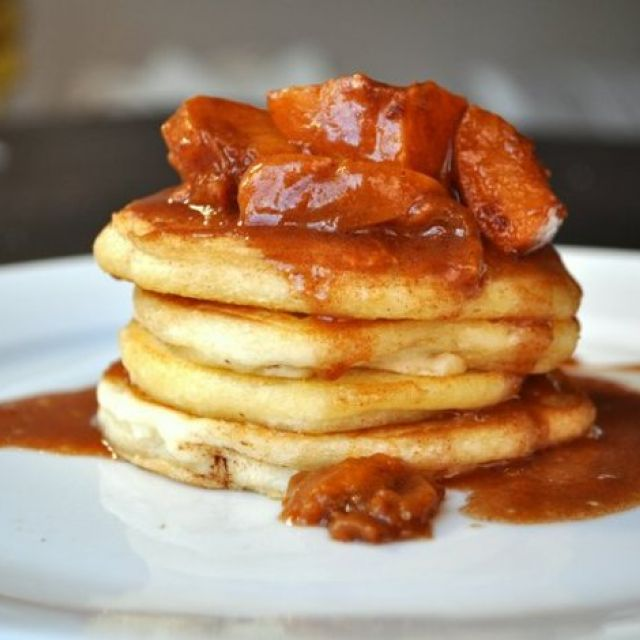 Pancakes with Apricot-Bourbon Sauce