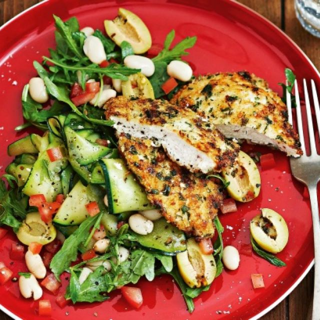 Parmesan Chicken with Minted Zucchini
