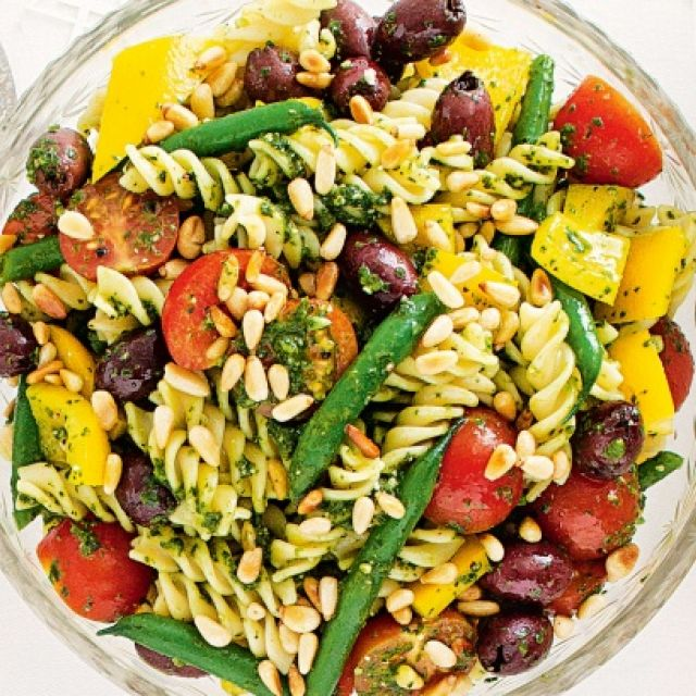 Pasta Salad with Chunky Pesto Dressing